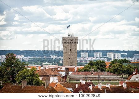 Pikk Hermann. Tower Of The Toompea Castle In Old Tallinn.
