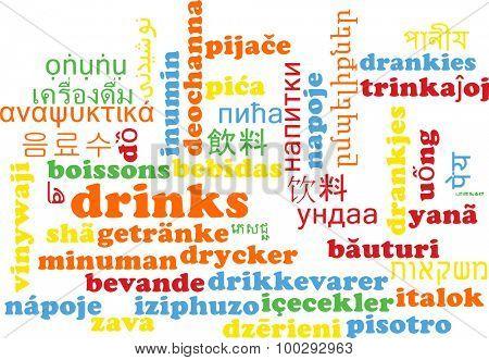Background concept wordcloud multilanguage international many language illustration of drinks