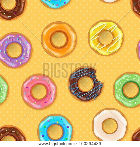 Vector illustration of Colorful donuts seamless pattern poster