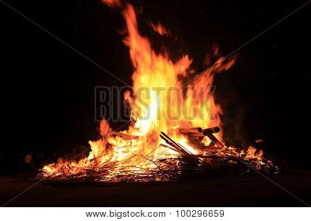 Midsummer Fire On The Goerauer Anger, District Of Kulmbach, Upper Franconia, Bavaria, Germany