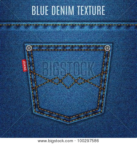 Jeans Blue Texture Fabric With Pocket Denim Background. Stock Vector Illustration Eps10
