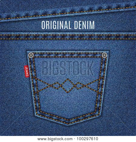 Jeans Blue Texture With Pocket Denim Background. Stock Vector Illustration Eps10