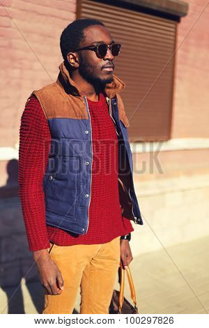 Fashion Portrait Of Stylish Confident Young African Man Wearing A Sunglasses And Sweater With Vest J