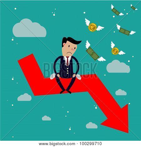 Businessman sit on arrow stock market crash,