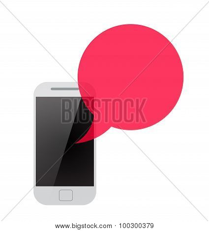 smartphone with red transparent speech bubble.