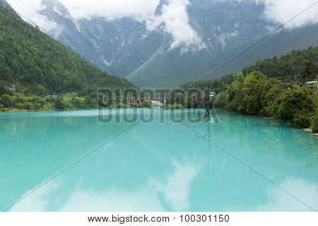 lake in jade dragon snow mountain in Lijiang, China