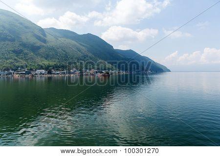 Erhai lake and Cangshan mountain in Dali, China