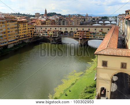poster of Florence Italy houses and shops in the ancient bridge called Ponte Vecchio over River Arno