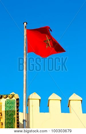 Tunisia   Flag In The Blue Sky  Colour And Battlements  Wave