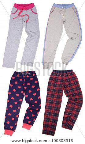 Set of sweatpants. Isolated on white background.