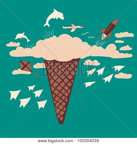 ice cream dream and fantasy illustration