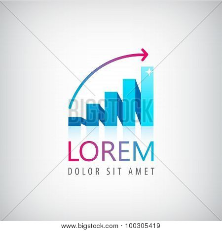 ector growing graph logo, icon isolated.