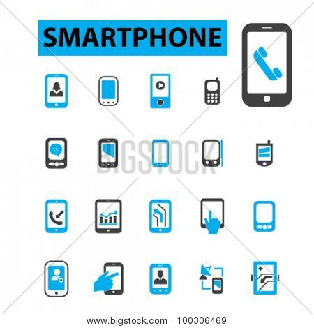 Smartphone, mobile phone icons: smart phone,  tablet,  mobile phone,  smartphone hand, cell phone, sms, mms, navigator, tablet pc. Vector illustration