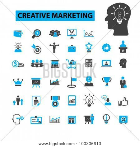 Creative marketing concept icons: marketing strategy,  advertising,  business, management, idea, creator, marketing campaign, marketing plan. Vector illustration