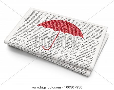 Security concept: Umbrella on Newspaper background