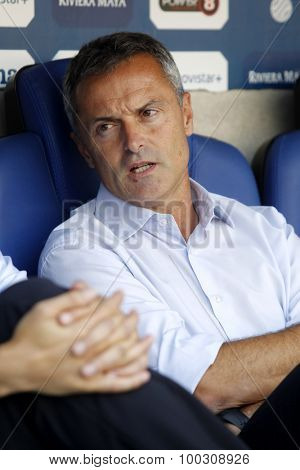 BARCELONA - AUG, 22: Fran Escriba manager of Getafe during a Spanish League match against RCD Espanyol at the Power8 stadium on August 22 2015 in Barcelona Spain