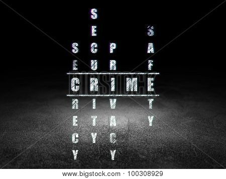 Security concept: word Crime in solving Crossword Puzzle