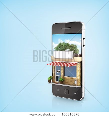 Concept Of Phone Online Store. Online Store Mobile Flat Design. Beautiful Shop In The Screen Of Phon
