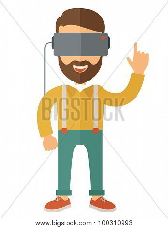 A caucasian wearing a virtual relaity headset. Vector flat design isolated on white background. poster