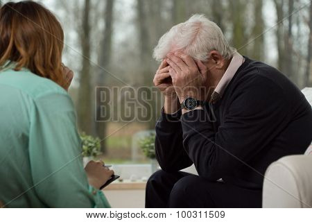 Despair Man During Psychological Therapy