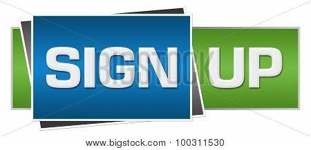 Sign Up Green Blue Horizontal