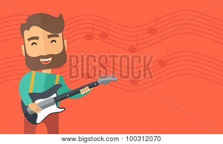 A singing musician playing electric guitar. Vector flat design illustration. Horizontal layout with text space in right side.