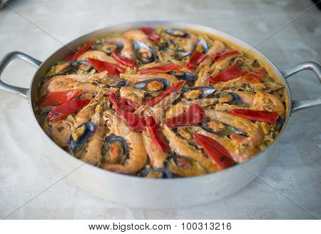 Paella In An Overhead Shot