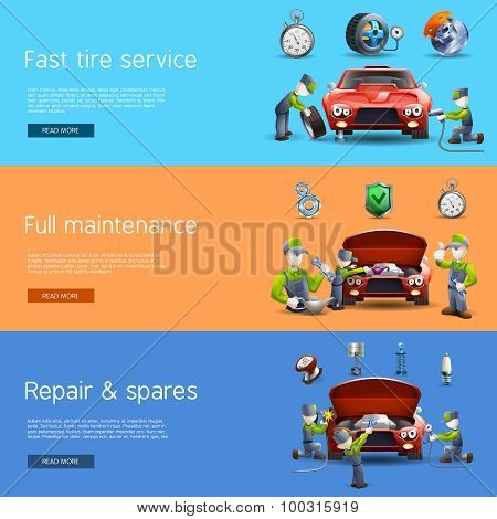 Auto mechanic service flat banners set