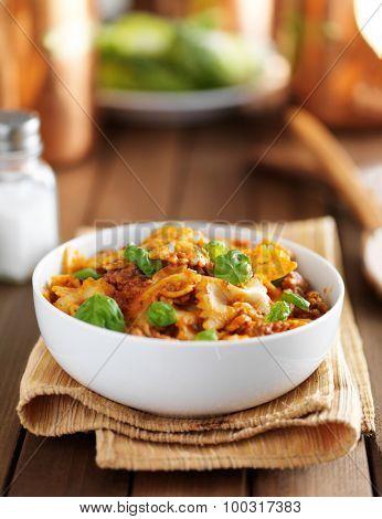 italian pasta dish with farfalle bowtie pasta and ground beef