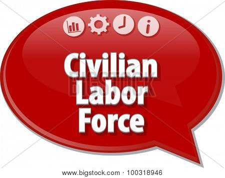 Speech bubble dialog illustration of business term saying Civilian Labor Force