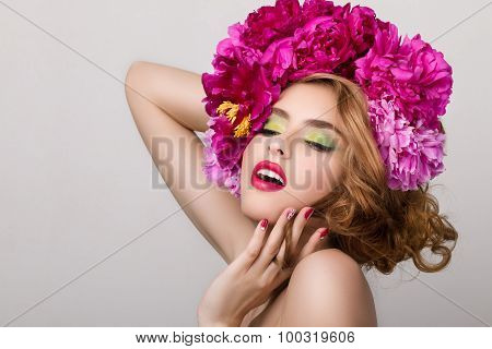 Close-up Beauty Portrait Of Young Pretty Girl With Flowers In Her Hair