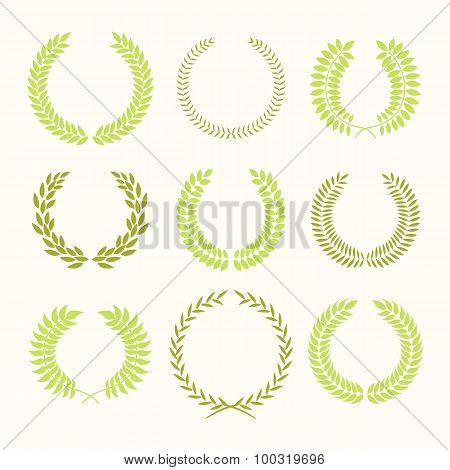 Vector illustration with set of laurel frame.