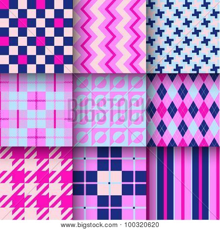 Seamless backgrounds with pattern striped, chess, checkered.