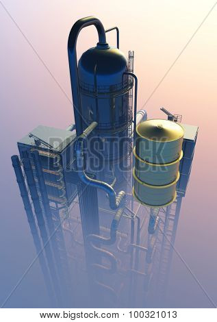 Tubes of factory in the sky.