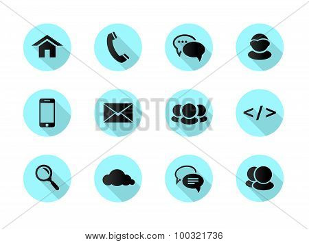 Flat Design Web, Communication Icons: Internet