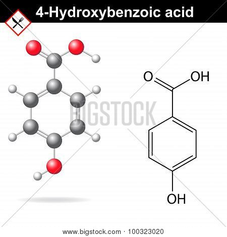 4-Hydroxybenzoic acid - medical substance, chemical structural formula and model, 2d & 3d vector on white background, eps 8 poster