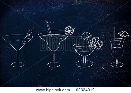 Hand Drawn Cocktails And Drink Glasses