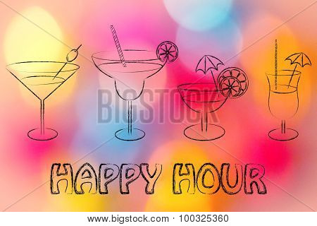 Happy Hour: Cocktails And Drink Glasses