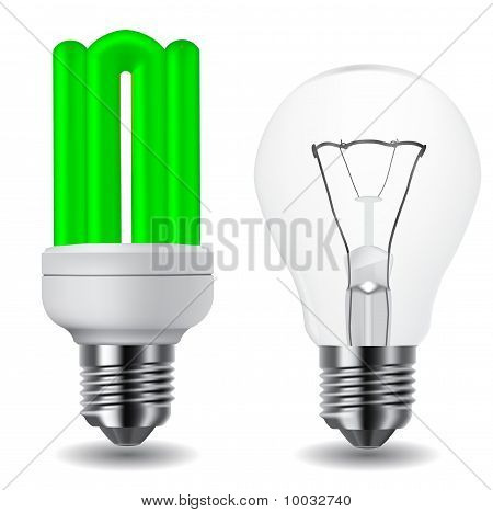 Energy Saving Green Lightbulb And Classic Lightbulb