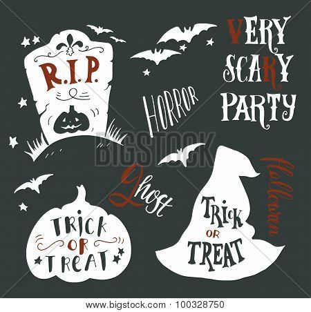 Collection of Halloween symbols with hand lettering. Trick or treat horror very scary party r.i.p. ghost boo. Headstone bat witch hat pumpkin. poster