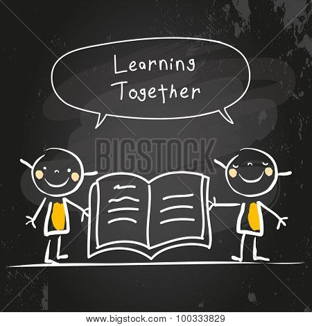 Kids learning together, reading a book. Kids with speech bubble, chalk on blackboard hand drawn doodle style vector illustration.