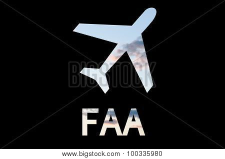 Airplane icon and inscription FAA