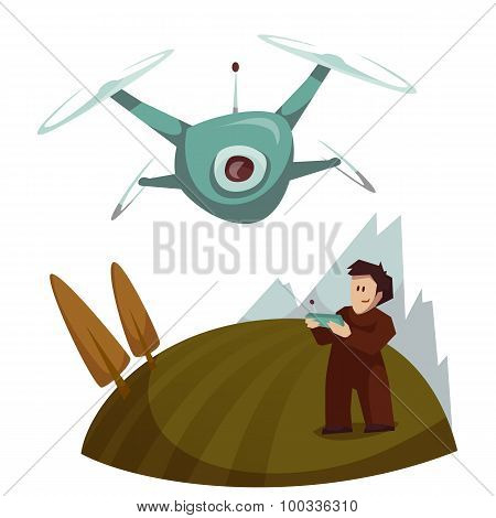 Dron with camera flying and man control it. Vector illustration