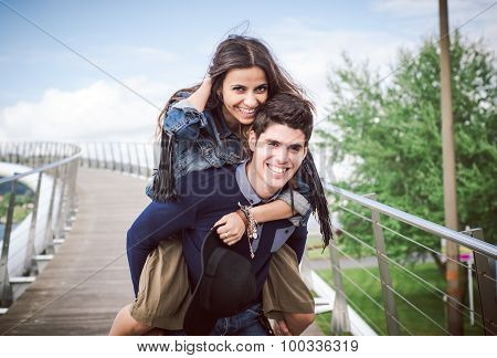 Heterosexual Couple Having Fun