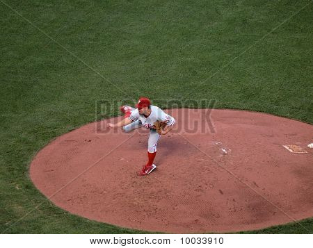 Phillies Joe Blanton Lifts Back Leg As He Finishes Throwing A Pitch From Mound
