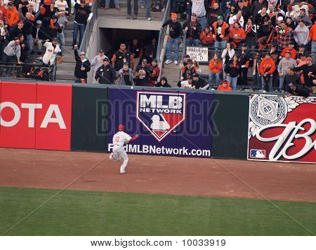 Philadelphia Phillies Ben Francisco Chases Fly Ball That Bounces Over Wall For Ground Rule Double