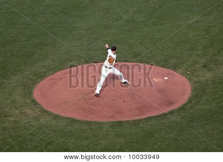 Giants Madison Bumgarner Steps Forward And Reaches Arm Back To Throws Pitch From Mound