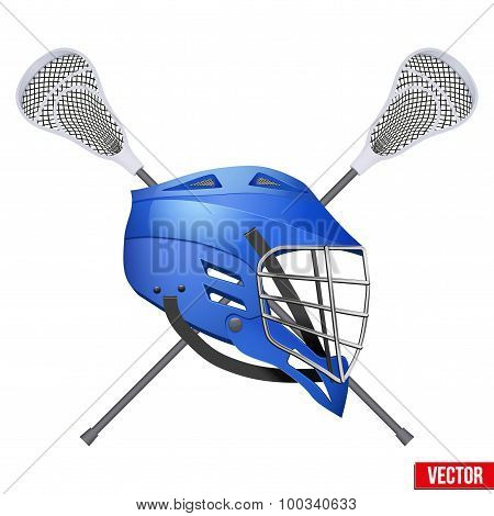 Lacrosse helmet and sticks. Symbol of sports. Vector illustration Isolated on white background. poster
