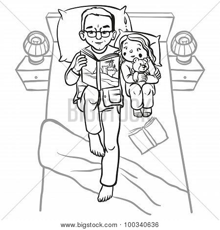 funny cartoon Dad reading book for his child. vector
