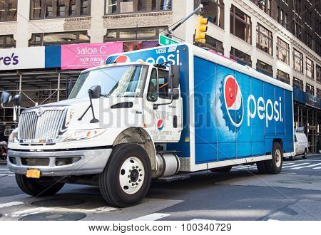 NEW YORK CITY, USA - SEPTEMBER, 2014: Pepsi truck in New York City